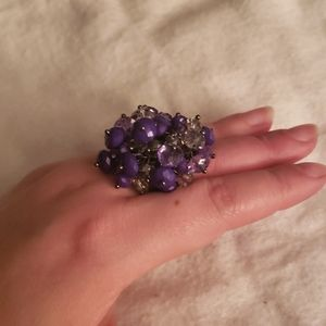Purple & Clear Beaded Costume Ring